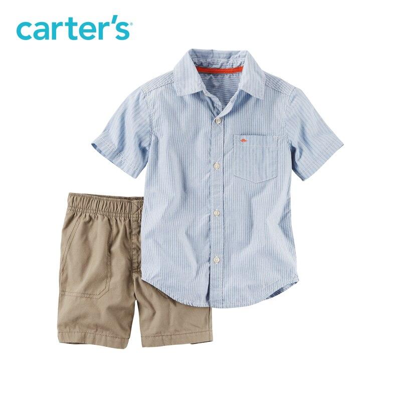 Carter's/2 шт. для маленьких детей Детские Striped Button-Front и холст короткий набор 249G430, продается из официального магазина Carter's в Китае