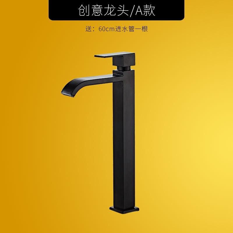 Robinet de lavabo simple robinet de salle de bain froide en laiton évier mélangeur robinet bain rehaussement robinet d'eau Wasserhahn noir