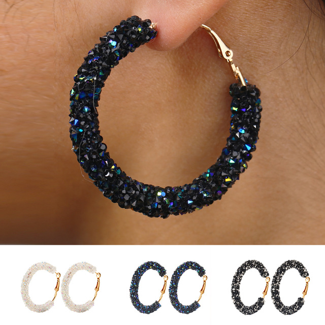 Shining Crystal Gold Metal Hoop Earring for Women Personality Simple Style Jewelry Vintage Fashion Black White Blue Accessories