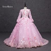 Pink Floral Princess Puffy Flower Girl Dress for Wedding Little Girl Formal Gowns Communion Celebrity Dress