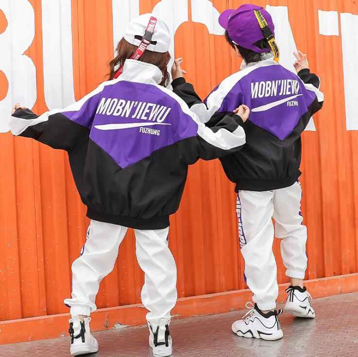 少年少女ジャケットトップススウェットパンツヒップホップダンスショーの衣装ビッグ子供服ティーンエイジャー 10 12 14 16 18 年