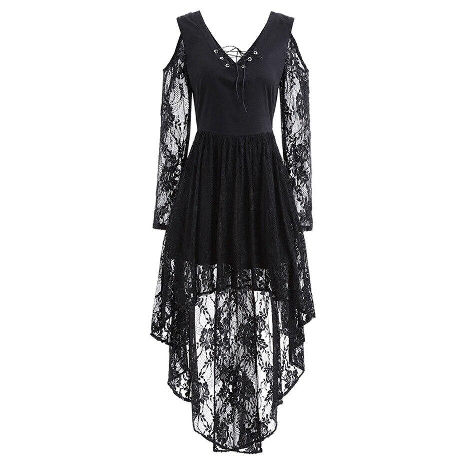 Rosetic Kleid Frauen Sexy Spitze Kleider Langarm Aushöhlen Vestidos Verano  2018 Schwarz Unregelmäßigen Kleid Goth V 06d085a9e1