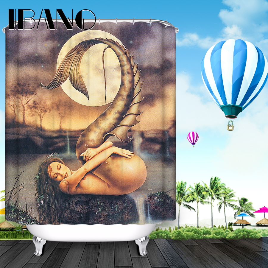 Mermaid shower curtains - Mermaid Shower Curtain Pattern Custom Shower Curtain Waterproof Bathroom Fabric 60x72 Quality Shower Curtain For