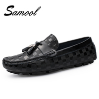 Spring Autumn Black Patent Leather Men Dress Breathable Driving Shoes Slip On Moccasins With Tassel Male