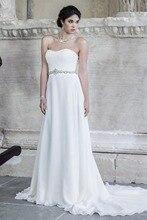 Free Shipping Cheap Sheath Strapless Beaded Waist Chiffon Court Train Simple Wedding Dress AW350