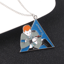 Game Detroit Become Human Neckalce Connor RK800 Blue Color Enamel Triangle Pendant For Man Woman Jewelry