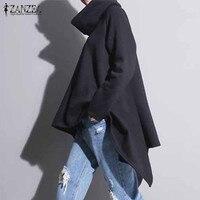 ZANZEA 2018 Women Oversized Hoodies Fashion Solid Pullovers Loose Irregular Long Sweatshirts Casual Long Sleeve Autumn