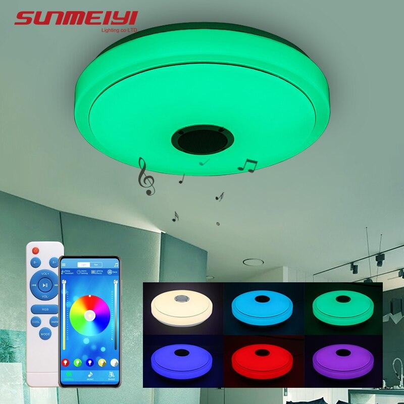 Luzes de teto bluetooth moderno controle remoto & app luz inteligente para sala estar quarto pode ser escurecido led lâmpada do teto música alto falante - 2