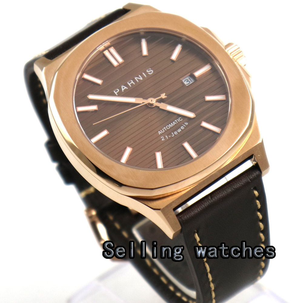 44MM parnis coffee dial date widnow luminous rose golden case miyota 821A automatic movement mens watch 40mm parnis black dial date widnow stainless steel strap vintage automatic movement mens watch p24