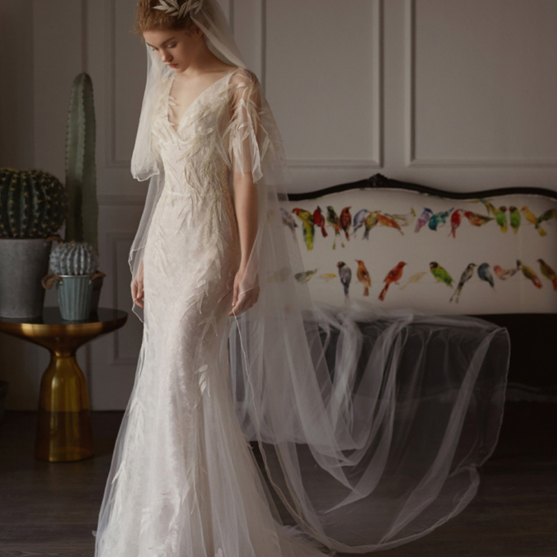 Mermaid Wedding Dress 2019 New Spring Fashion Sexy V-neck Backless Half Sleeve Embroidery Lace On Net Bridal Dresses