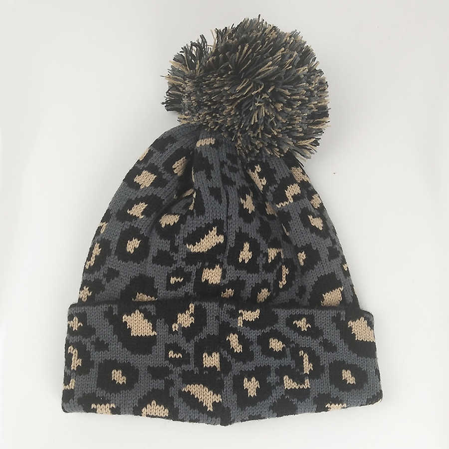 277d628ec080 ... Winter Hats Leopard Wool Pompom Beanies Women Autumn Winter Ins Retro  Knitting Hip Hop Pom Pom ...