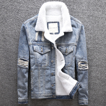Winter Fashion Men Jacket Big Size M-5XL Patch Design Printed Denim Jackets Thick Velvet Coat Streetwear Hip Hop Warm