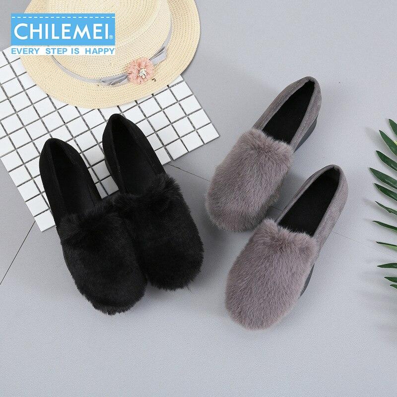 New Korean Lady Pumps Furry Platform High Heel Cute Girls Fur Slip On Mid Heel Round Toe Comfortable Peas Shoes