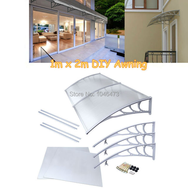 Attirant 1mx2m Polycarbonate Window Awning Outdoor DIY Front Door Canopy Patio Cover  Sun