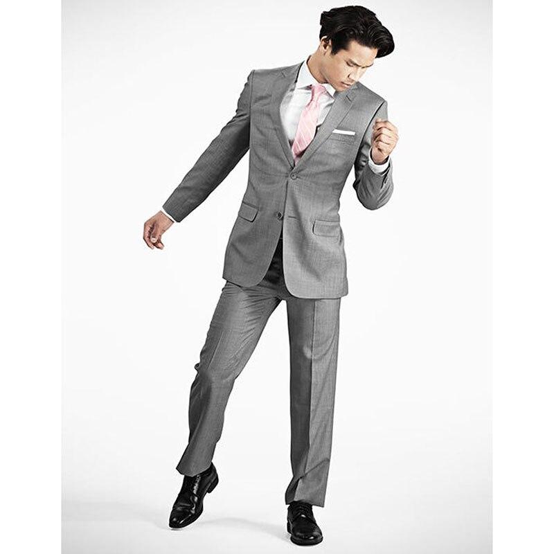 2017 chaud cran revers deux boutons moderne hommes costumes Fit gris clair costume sur mesure Maillot Homme Tuxedos pour hommes (veste + pantalon)