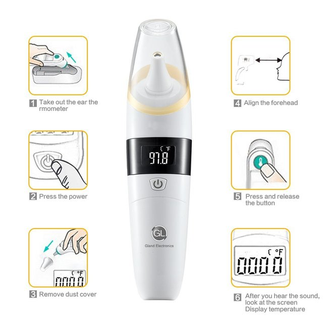 GL Baby Infrared LCD Ear Thermometer Infant Healthcare Medical Home Use Fever Adult Body Digital Baby Thermometer for All Ages