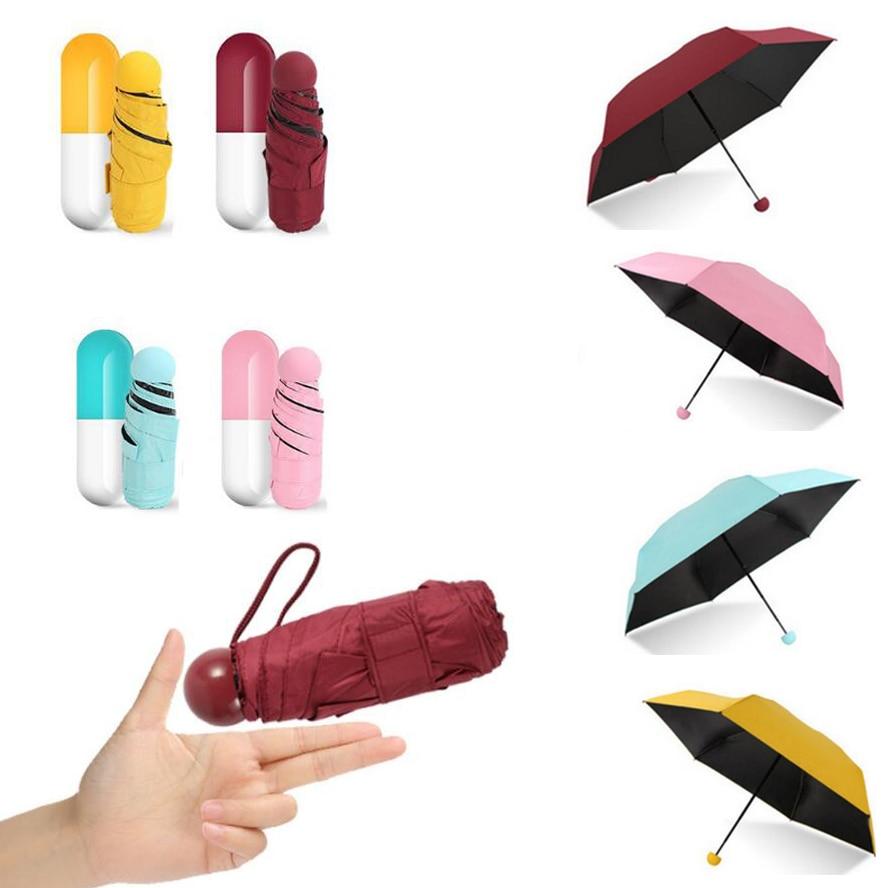 Mini Capsule Women Umbrella Clear Anti-UV Protectio Umbrellas Windproof Folding Umbrellas Compact Rain Children Pocket Umbrellas