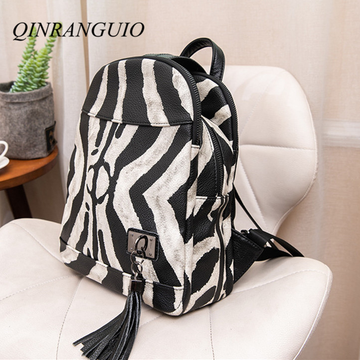 QINRANGUIO Cow Leather Women Backpack 2020 Tassel Genuine Leather Backpack Women Panelled Anti Theft Backpack Large Capacity