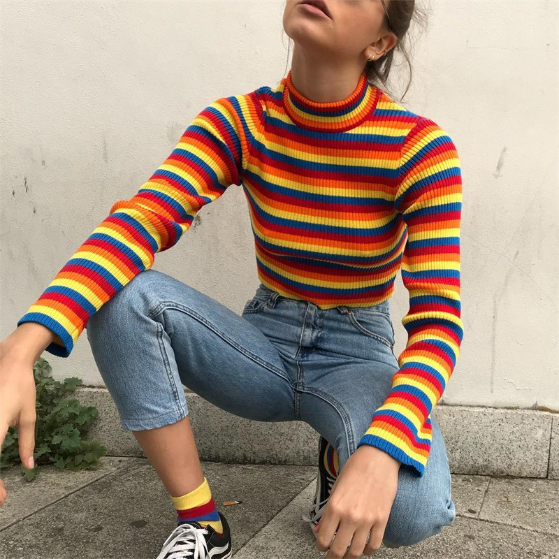 Offen Kintted Regenbogen Rollkragen Pullover Striped Crop Frauen Pullover Fashion Tops Streetwear