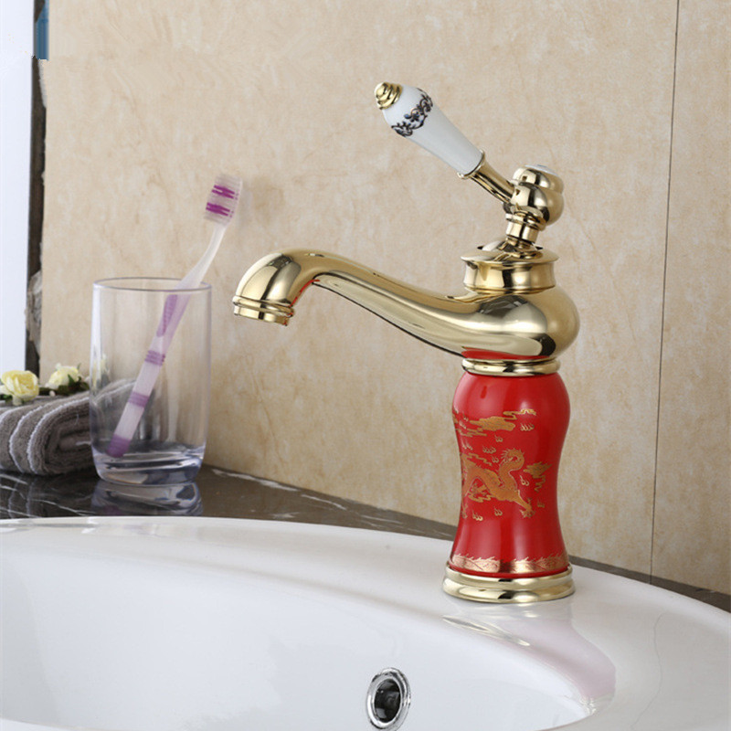 Bathroom Basin Faucets Single Handle with Ceramic Body and Handle Mixer Torneira Banheiro Golden New Fashion Brass faucet Bathroom Basin Faucets Single Handle with Ceramic Body and Handle Mixer Torneira Banheiro Golden New Fashion Brass faucet