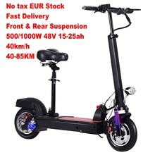 Netherlands Stock No Tax 500w/1000w Motor Front/Rear Suspension 10 Inch Folding Adult Electric Kick Scooter(China)