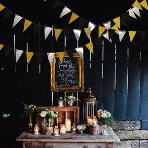 Image 3 - Праздничные золотые, серебряные, Треугольные флаги, подвесные украшения, блестящие, золотые, треугольные, для детских дней рождения, украшения для стен с цветами