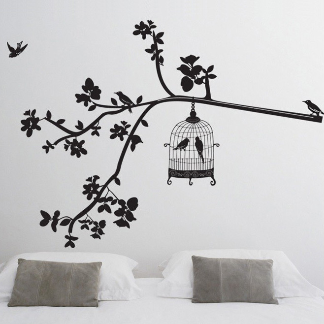 Happy Birds Tree Vinyl Stickers Home Decoration Wall Art Bedroom Rhaliexpress: Wall Art For Bedroom Tree At Home Improvement Advice