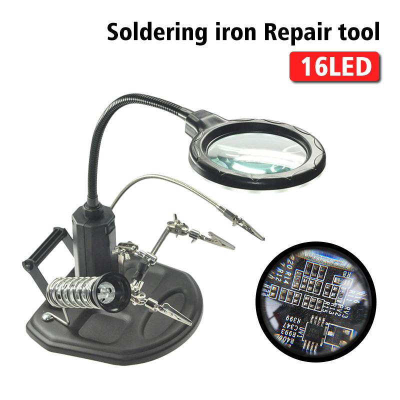 2.5X 4X Welding Magnifying Glass 16 LED Loupe Magnifier Alligator Clip Holder Clamp Helping Hand Soldering Iron Repair Tool eu welding repair tools hand soldering solder iron stand holder station magnifying glass clamp 5 led auxiliary clip magnifier