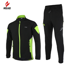 ARSUXEO Arsuxeo Winter Mens Cycling Jackets Set Long Sleeve Thermal Fleece Road Mountain Bike MTB Jacket Outdoor Sports Suits