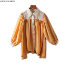 Irregular Ruffle Chiffon Blouse 2018 Spring Summer Tops Ladies Elegant Plus Size Blouses Lantern Sleeve Women Long Sleeve Shirts