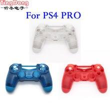 Прозрачный пластиковый чехол для sony ps4 pro синий красный