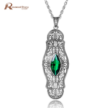 925 Sterling Silver Necklaces Pendants Handmade Green CZ Crystal Charms Pendant Rhinestone Pendant Jewelry Box Muslim