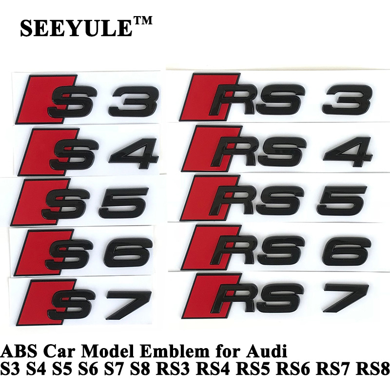 цена на 1pc SEEYULE Customize Brilliant Shiny Black ABS Car Model Emblem Tail Sticker S3 S4 S5 S6 S7 S8 RS3 RS4 RS5 RS6 RS7 RS8 for Audi