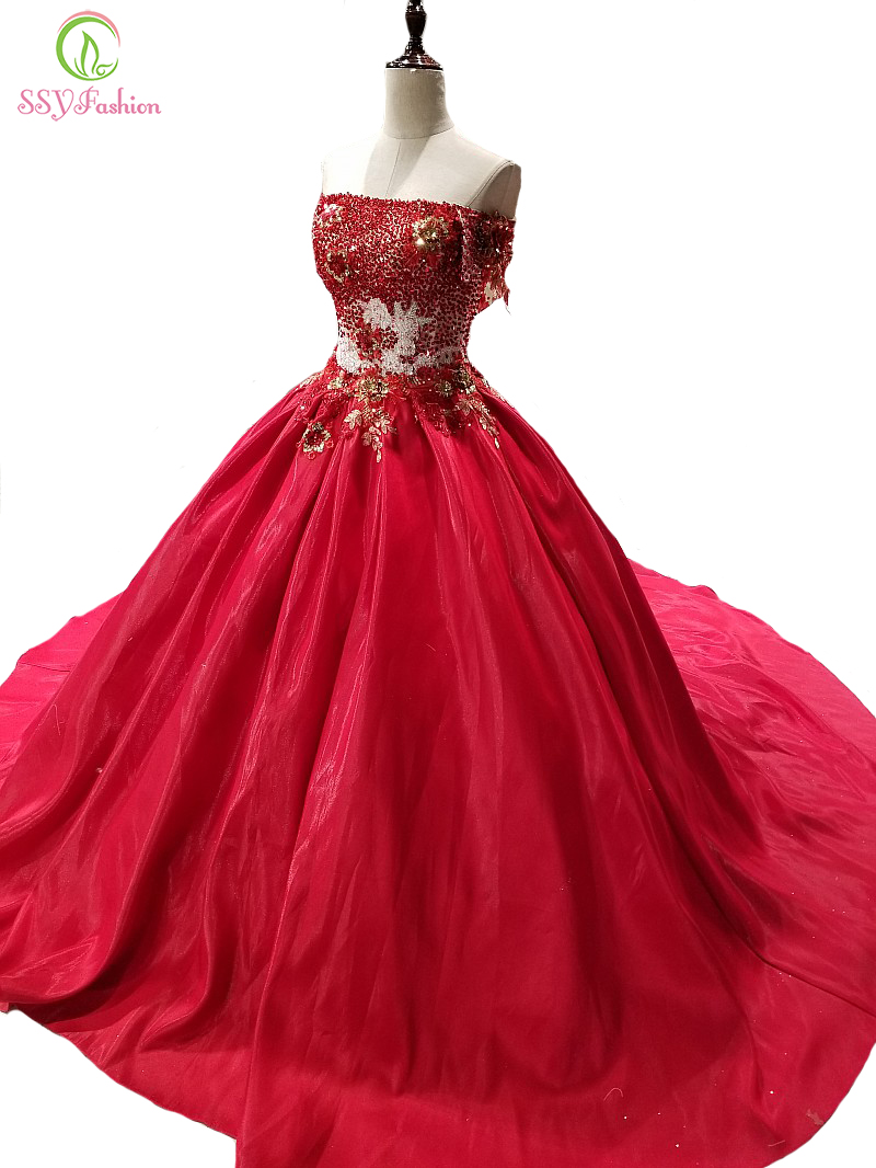 SSYFashion New The Bride Married Luxury Red Evening Dress High-end Crystal Beading Appliques Long Prom Party Formal Gown