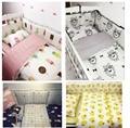 7 unid cuna infantil kids room dormitorio bebé set nursery bedding negro oso rosado helado cuna bedding set para las niñas recién nacidas