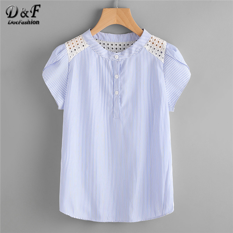 c0343f54937cd1 Dotfashion Blue Eyelet Embroidered Lace Petal Sleeve Blouse Short Sleeve  Striped Button Top 2019 Summer Women Blouse