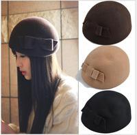 Elegant Black Hat Winter Australian Wool French Beret Cap Women Flat Cap Bowknot Wedding Dress Hats