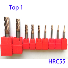 цена на 1mm 2mm 3mm 4mm 5mm 6mm 8mm 10mm 12mm Tungsten Carbide Square Flat End Mills Spiral Bits CNC Router Bits 4 Flutes HRC55