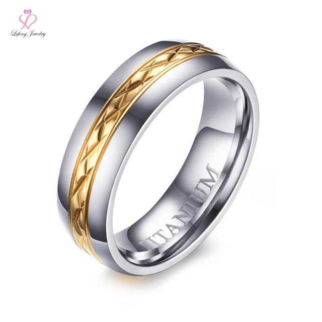 Womens Titanium Wedding Bands Rings 6mm Silver Gold Two Tone Spark