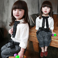 Girl cotton clothes set long sleeve white shirt with striped pants baby kids casual clothing set kids and children bow