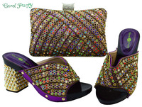 2017 African Fashion Black Color Shoes And Bag Set Decorated With Rhinestone Nigerian Shoes And Bag