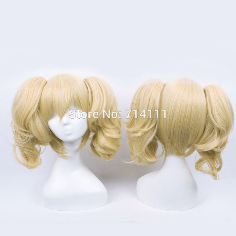 Batman Harley Quinn Cosplay Wigs Golden Blonde Curly Medium Synthetic Hair Chip Ponytails Women Anime Party Wig +Wig Cap
