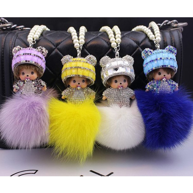 9Colors Monchhichi Brand Key Chain 2016 New Arrival 8CM Fox Fur Ball Monchhichi Crystal Keychain porte clef keyrings llaveros
