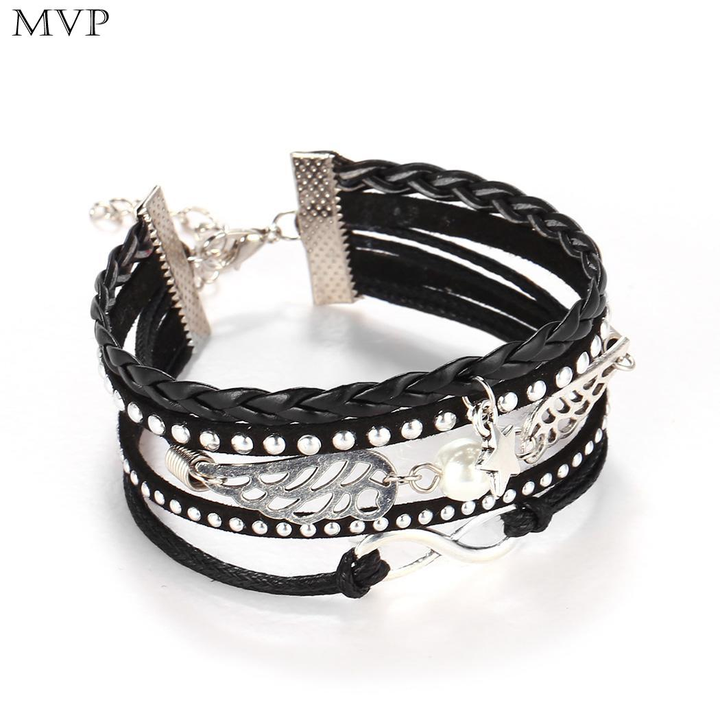 Pentagram Retro Style Women Wings Bangle Bracelet Weave Wristband
