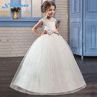 White Flower Girl Dress Kid Girls First Communion Dresses Tulle Lace Wedding Long Princess Bridesmaids Costume For Teen Girls