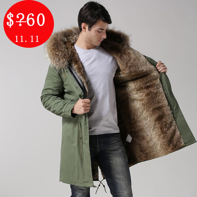 2017 Winter Casual Mens real collar outwear coats military man ...