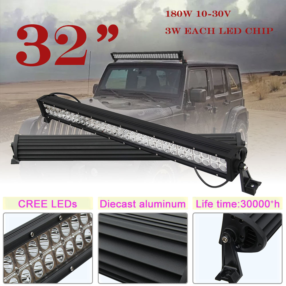 CO LIGHT 32 inch 180W LED Light Bar Offroad CREE Chips Driving Lights Fit Car Truck 4x4 SUV ATV 4WD UAZ Combo Beam 12V 24V oslamp 32 300w cree chips led work light bar offroad led bar lights combo beam led driving lamp for truck suv 4x4 4wd 12v 24v