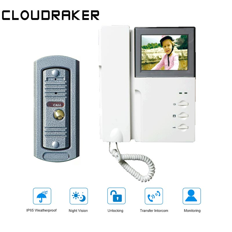 CLOUDRAKER 4.3'' Video Intercom System 1x Monitor With 1x Peephole Wired Video Door Phone Camera IR Night Vision Unlock