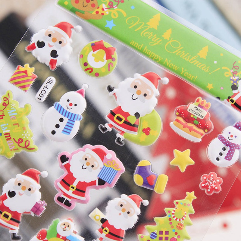 Kawaii New Arrival 3D Merry Christmas Decorative Stickers Adhesive Stickers Scrapbooking DIY Decoration Diary Stickers merry christmas snowman pattern decorative stair stickers