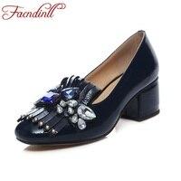 FACNDINLL brand design donne del cuoio genuino pompe partito di alta qualità pompe dell'alto tallone del rhinestone di modo office lady abito scarpe